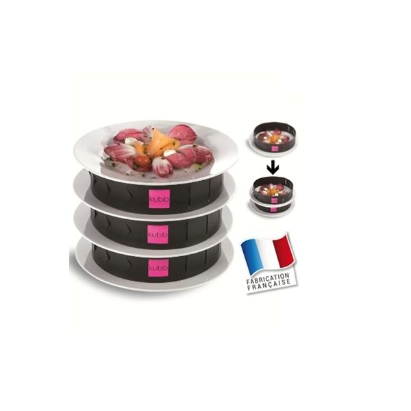 3 bandes de superposition d'assiettes dressées