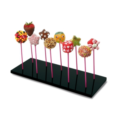pr sentoir cake pops acrylique noir kubb. Black Bedroom Furniture Sets. Home Design Ideas