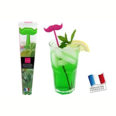 6 agitateurs MOUSTACHE 3D (vert)