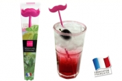 6 agitateurs MOUSTACHE 3D (fuchsia)